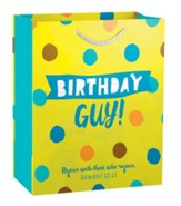Birthday Guy, Blue Polka Dot Gift Bag, Medium