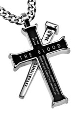 By His Blood Established Cross Necklace, Black