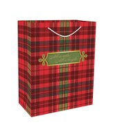 All Is Calm, All Is Bright, Gift Bag, Red Plaid , Large