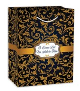O Come Let Us Adore Him, Gift Bag, Black and Gold , Medium