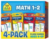 Math 1-2 Flash Cards 4 Pack