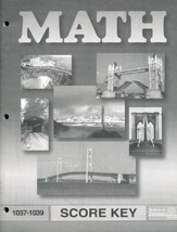 Latest Edition Math PACE SCORE Key 1037-1039 Grade 4
