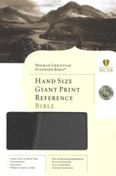 HCSB Hand Size Giant Print Reference Bible, Black & Gray Simulated Leather