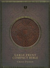 HCSB Large Print Compact Bible: Cross Design, Dark Brown Simulated Leather