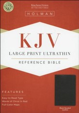 KJV Large Print UltraThin Reference Bible--bonded leather, black