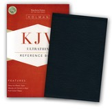 KJV UltraThin Reference Bible--soft leather-look, black