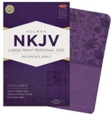 NKJV Large Print Personal Size Reference Bible, Purple LeatherTouch, Thumb-Indexed