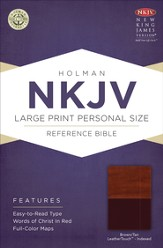 NKJV Large Print Personal Size Reference Bible, Brown and Tan LeatherTouch, Thumb-Indexed