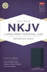 NKJV Large Print Personal Size Reference Bible, Slate Blue LeatherTouch, Thumb-Indexed
