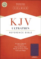 KJV UltraThin Reference Bible, Eggplant LeatherTouch