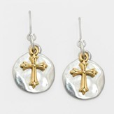Cross on Disk Earrings