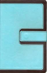 KJV UltraThin Reference Bible, Brown and Blue LeatherTouch with Magnetic Flap, Thumb-Indexed