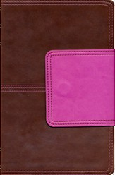 KJV UltraThin Reference Bible, Brown and Pink LeatherTouch with Magnetic Flap