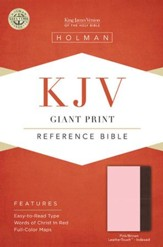 KJV Giant Print Reference Bible, Pink and Brown LeatherTouch, Thumb-Indexed