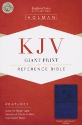 KJV Giant Print Reference Bible, Purple LeatherTouch, Thumb-Indexed