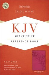KJV Giant Print Reference Bible, Pink LeatherTouch, Thumb-Indexed - Imperfectly Imprinted Bibles