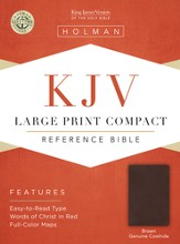 KJV Large Print Compact Reference Bible, Brown Genuine Cowhide - Slightly Imperfect