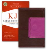 KJV Large Print Compact Reference Bible, Brown and Pink LeatherTouch with Magnetic Flap