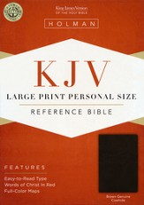 KJV Large Print Personal Size Reference Bible, Brown Genuine Cowhide