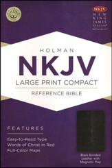 NKJV Large Print Compact Reference Bible, Black Bonded Leather  - Slightly Imperfect