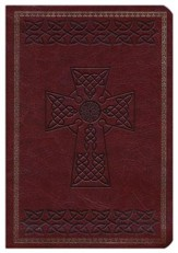 NKJV Large Print Compact Reference Bible, Brown LeatherTouch with Celtic Cross