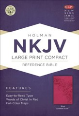 NKJV Large Print Compact Reference Bible, Pink LeatherTouch - Slightly Imperfect