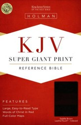 KJV Super Giant Print Reference Bible, Saddle Brown LeatherTouch, Thumb-Indexed - Slightly Imperfect