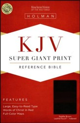 KJV Super Giant Print Reference Bible, Saddle Brown LeatherTouch, Thumb-Indexed