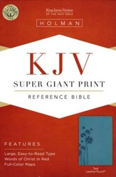 KJV Super Giant Print Reference Bible, Teal LeatherTouch
