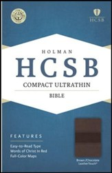 HCSB Compact Ultrathin Bible, Brown and Chocolate LeatherTouch