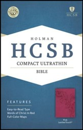 HCSB Compact Ultrathin Bible, Pink LeatherTouch