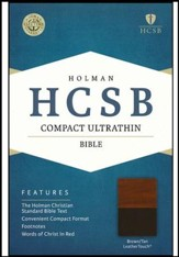 HCSB Compact Ultrathin Bible, Brown and Tan LeatherTouch
