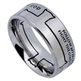 Man of God Iron Cross Men's Ring Silver, Size 10 (1Timothy 6:11)