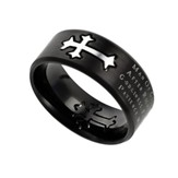 Man of God, Neo Cross Scripture Ring, Black, Size 10