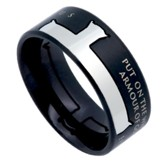 Armor of God Iron Cross Men's Ring Black, Size 10 (Ephesians 6:11)