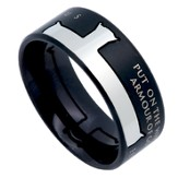 Armor of God Iron Cross Men's Ring Black, Size 11 (Ephesians 6:11)