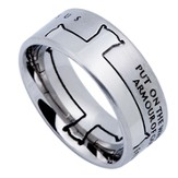 Armor of God Iron Cross Men's Ring Silver, Size 14 (Ephesians 6:11)