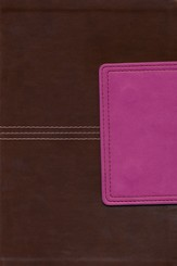 NKJV Large Print Personal Size Reference Bible, Brown and Pink LeatherTouch with Magnetic Flap