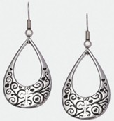 Tear Drop with Cross Earrings