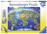 World Landmarks Map Puzzle, 300 Pieces