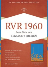 RVR 1960 Biblia para Regalos y Premios, azul océano y papaya símil piel, RVR 1960 Gift and Award Bible, Ocean Blue and Papaya LeatherTouch