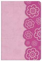 HCSB Big Picture Interactive Bible, Pink Flowers LeatherTouch - Imperfectly Imprinted Bibles