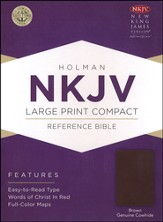NKJV Large Print Compact Reference Bible, Brown Genuine Cowhide - Imperfectly Imprinted Bibles