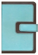 KJV Compact Ultrathin Bible, Brown and Blue Leathertouch with Magnetic Flap
