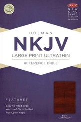 NKJV Large Print UltraThin Reference Bible, Brown LeatherTouch