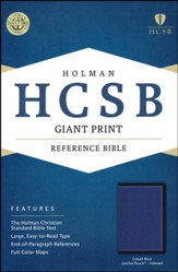 HCSB Giant Print Reference Bible--soft leather-look cobalt blue (indexed)