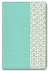 HCSB Large-Print Personal Size Bible--soft leather-look, mint green