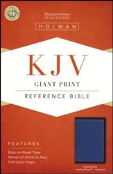 KJV Giant-Print Reference Bible--soft leather-look, cobalt blue (indexed)