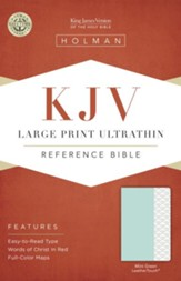 KJV Large-Print Ultrathin Reference Bible--soft leather-look, mint green - Imperfectly Imprinted Bibles