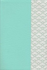 NKJV Giant-Print Reference Bible--soft leather-look, mint green